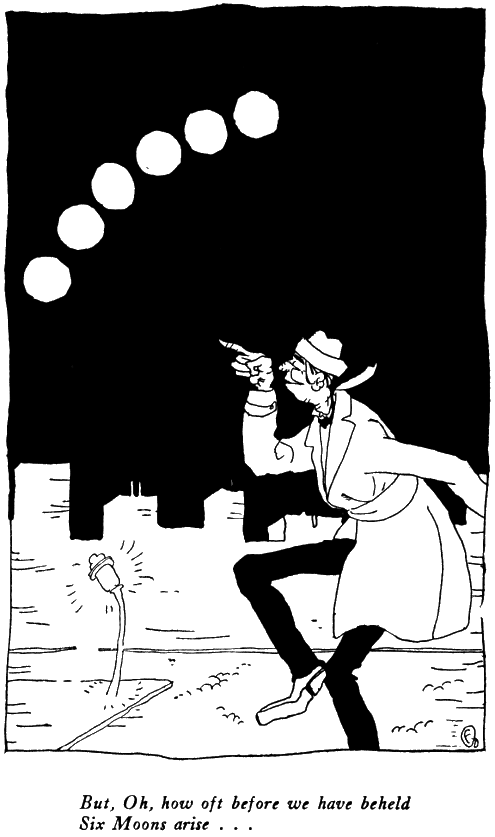 The Rubaiyat of Ohow Dryyam, Man Pointing at Six Moons